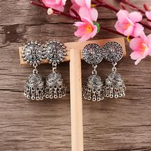 TopHanqi Indian Jhumka Gypsy Jewelry Sliver Boho Vintage Ethnic Womens Earrings Hollow Dangle Hanging Earrings For Women 2019(China)