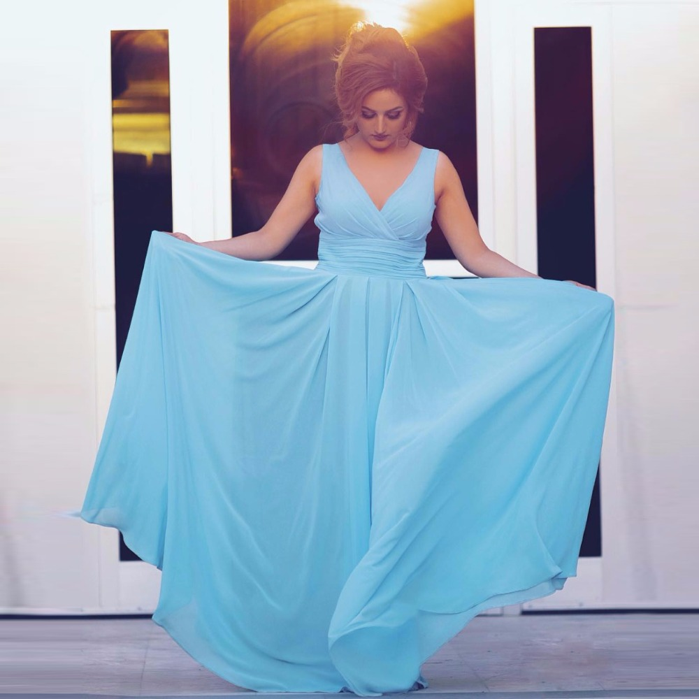Sexy V Neck Sky Blue A-Line Pleats Long Prom Gown   Bridesmaid     Dresses   for Weddings Party