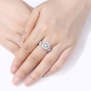 Image 4 - Newshe 2 pçs 925 prata esterlina anel de noivado casamento banda para as mulheres princesa corte branco aaa zircônia cúbica clássico jóias