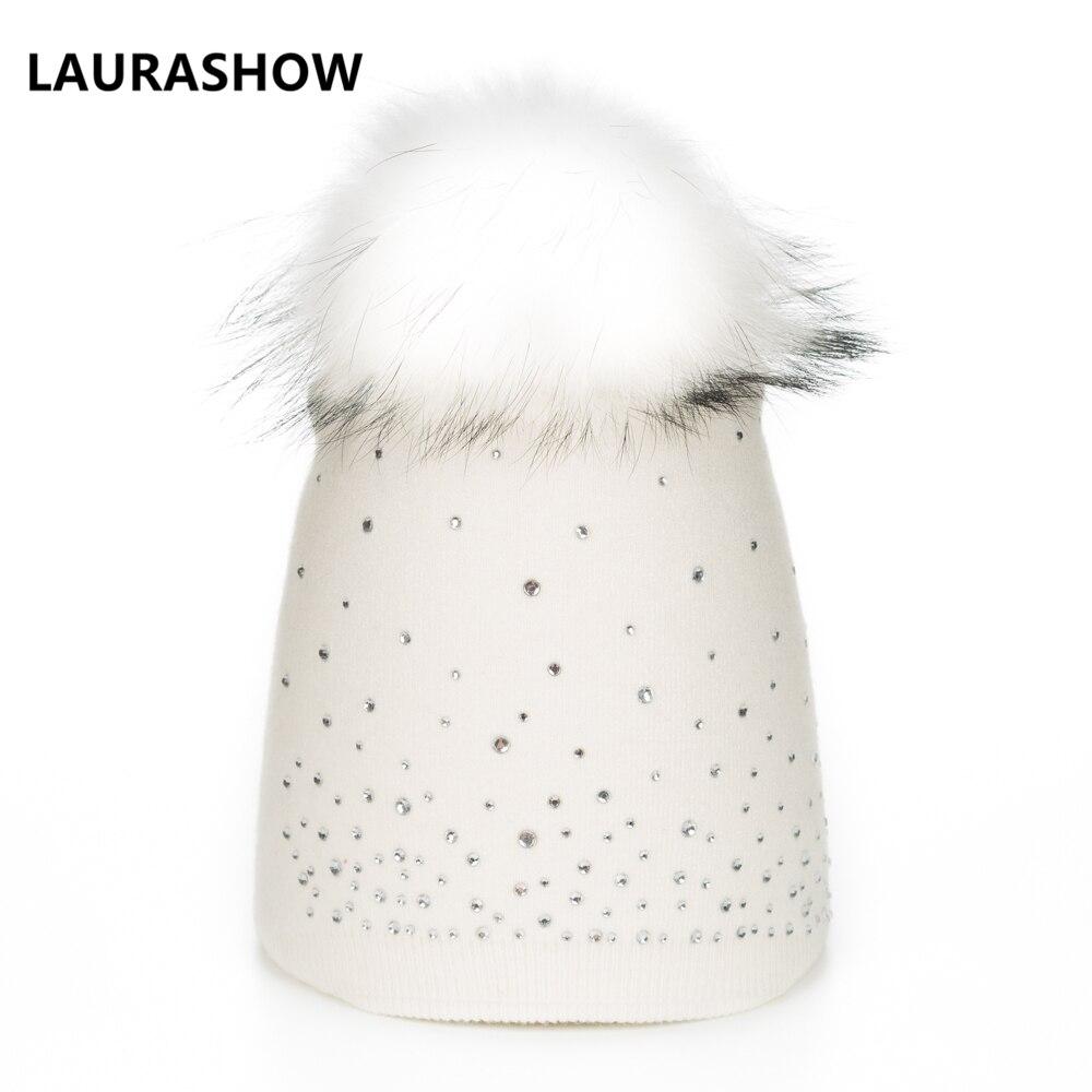 LAURASHOW Real Mink Fox PomPoms Wool Raccoon Fur Knitted Hat Skullies Winter Hat For Women Girls Hat Wool Beanies Cap
