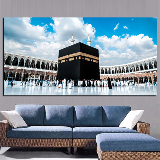 Print Mecca Islamic Last Day Hajj Round Ornament View Muslim Mosque Landscape Painting On Canvas Religious Art Cuadros