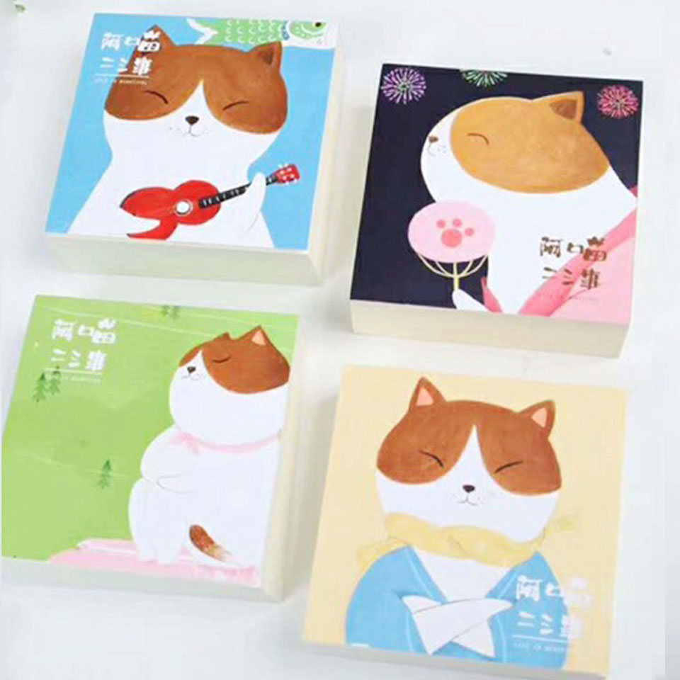 4 Pcs/lot Cat Memo Pad Stationery Papelaria Escolar School Supplies Memo Pad Gift Cute Kawaii Animal Sticky Notes Memo Notebook the color of the rainbow cloud memo pad sticky notes memo notebook stationery papelaria escolar school supplies