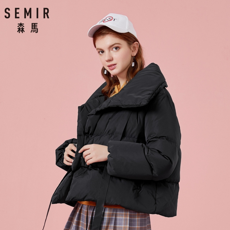 SEMIR Winter Jacket Women Plus Size L Womens Parkas Thicken Outerwear Solid Coats Short Female Slim Cotton Padded Basic Tops