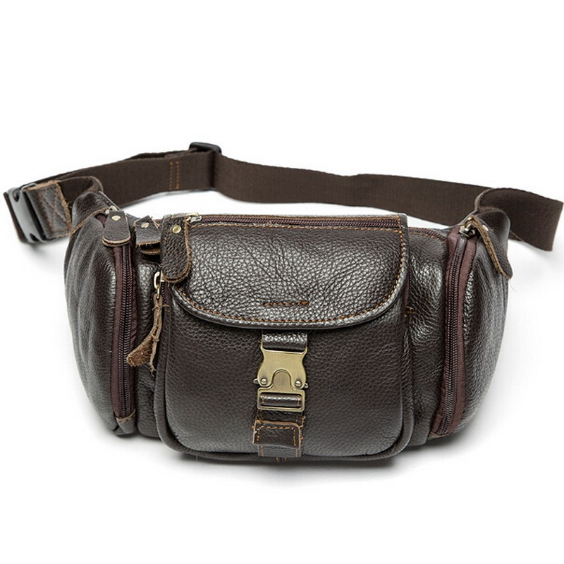 100% genuine leather waist bag men bags fanny pack first layer cowhide leather waist pack belt bag men genuine leather bags mini (21)