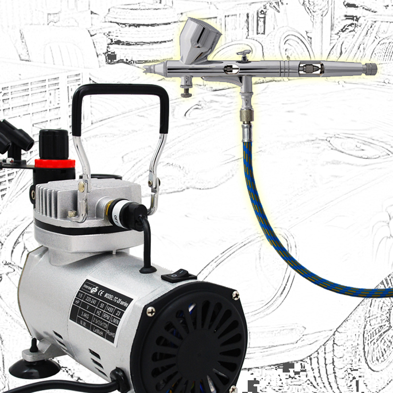 Colopaint Precision Detail AB-180 Airbrush Kits with Air Compressor TC-20B Body Paint fit tc 180 450