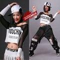 2016 nova moda oco out hip hop top dança Jazz feminino desgaste desempenho traje roupas fase negra branco Sexy malha t - camisa