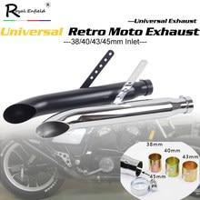 Uniwersalny tłumik rury wydechowej do motocykla retro vintage klasyczny galwanizacja escap moto dla cg125 sr400 cb500 vt500