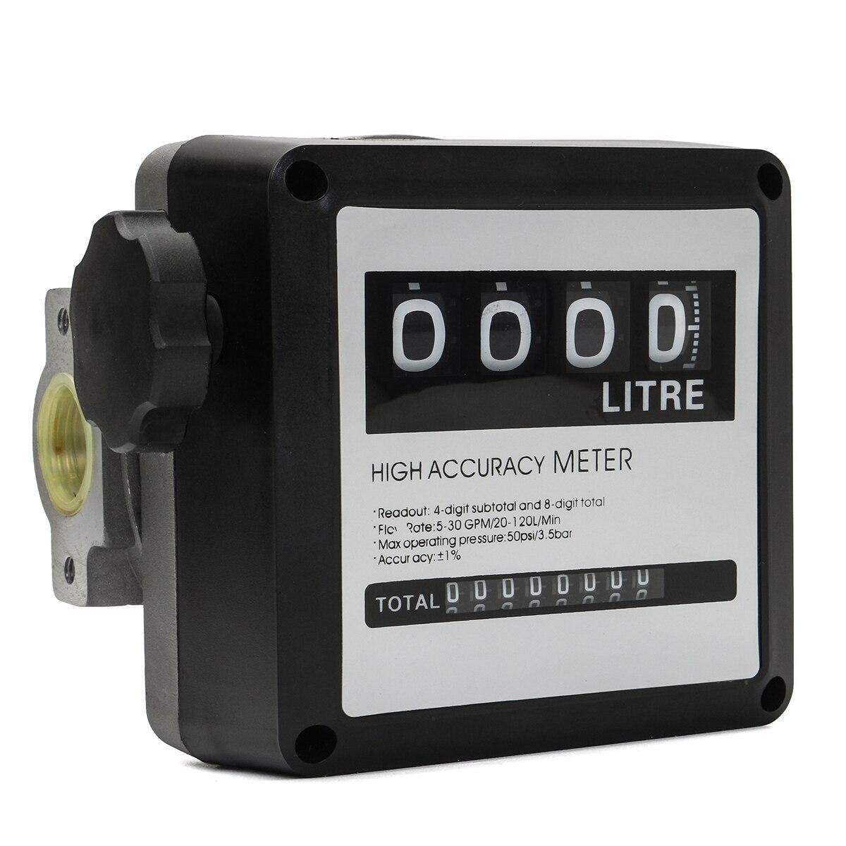 1 pcs FM-120 4 Digital Medidor de Fluxo de Óleo Combustível Gasolina Gasolina 20-120L/Min Quatro Digital para Diesel Fuel Oil contador do Medidor De fluxo
