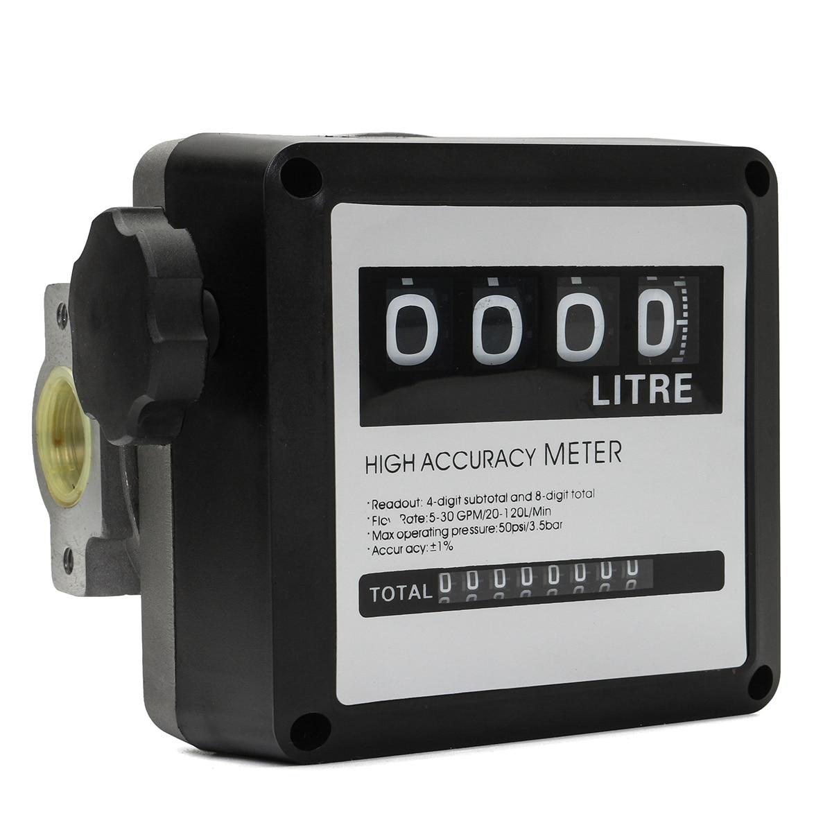 1Pcs FM 120 4 Digital Gasoline Fuel Petrol Oil Flow Meter 20 120L/Min Four Digital for Diesel Fuel Oil Flow Meter Counter