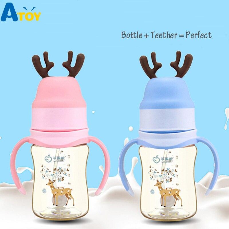 Safe Newborn Baby Feeding Bottle Baby Milk Feeder Feeding Supplement Leak-proof Nursing Nipple Silicon Baby Bottle With Teether