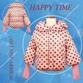 Gola Jaqueta de Inverno para o Bebê Menina 2016 3-8 Anos Meninas Coberto Botão Jaqueta de Algodão Crianças Casaco de Bolinhas Zipper Outwear