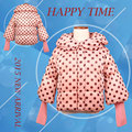 Turtleneck Winter Jacket for Baby Girl 2016 3-8 Years Girls Covered Button Cotton Jacket Children Polka Dot Coat Zipper Outwear