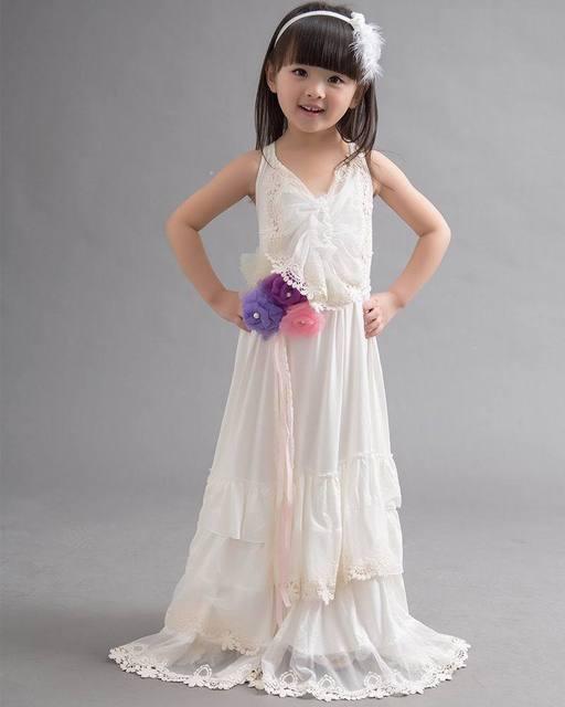 2015 Vestidos de Niña de Encaje de Gasa Vestidos Largos de Fiesta de Verano Vestido 2-7 T 3261 No Correa De La Flor