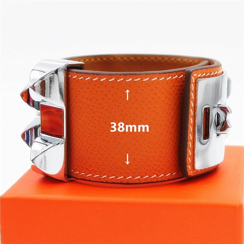 Top Qualité Punk Bracelets Large Lisse Véritable Bracelets En Cuir et Bracelets Pour Femmes Hommes Bracelet Manchette Déclaration Bijoux WX007