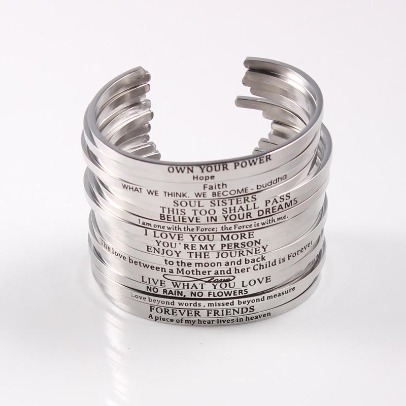 Hommes Femmes Acier Inoxydable Gravé Bracelet Love Bracelet Jonc