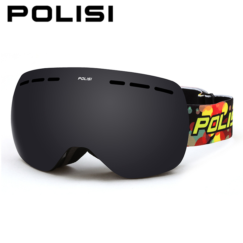 POLISI Ski Snow Goggles UV Protection Anti-Fog Winter Skiing Eyewear Men Women Double Layer Gray Lens Snowboard Skate Glasses chinese glossy black g6128t gh george harrison signature duo jet electric guitar with bigsby for sale