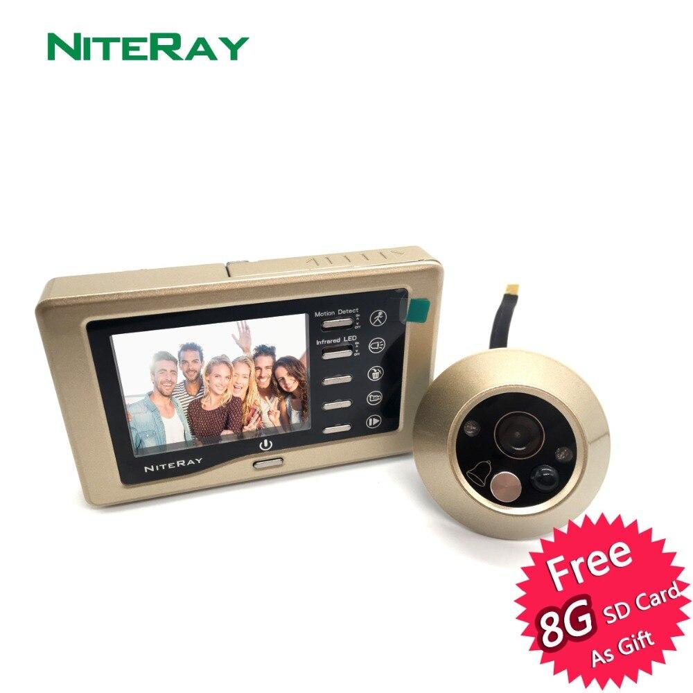 Цифровой дверной глазок с камерой и датчиком движения, поддерживающий фото- и видеосъемку, имеется дверной звонок и ночное видение