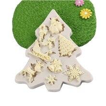 Рождественские сани лося Снежинка шаблон силиконовая форма шоколадный торт форма для выпечки Кухня ручной работы инструменты