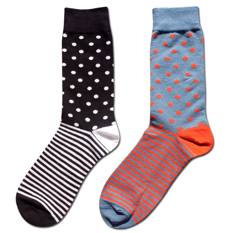 High quality Combed cotton men polka dot and striped pattern happy   socks   style designer dress business novelty male tide winter