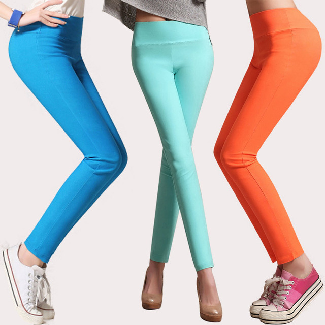 East Knitting high waist fashion leggings woman stretchy slim pants female summer spring candy color plus size
