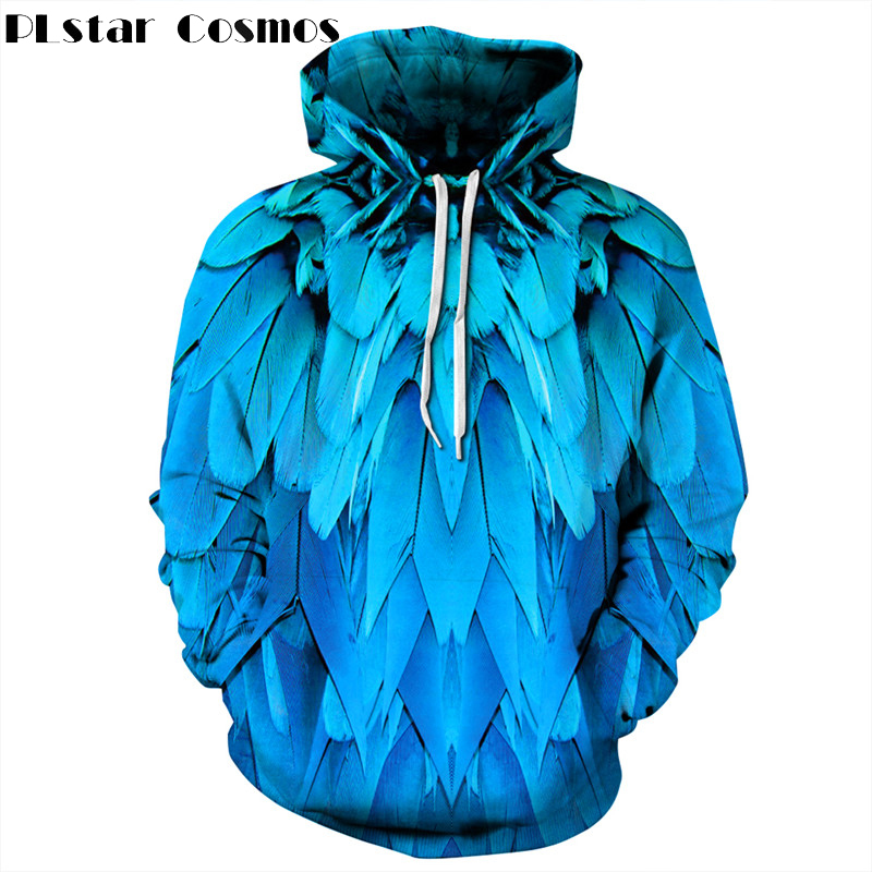 PLstar Cosmos 3D Printed Feather Hoodies Men/Women Blue Hoodie Sweatshirts Printing Hooded Unisex Feathers Pullovers Streetwear