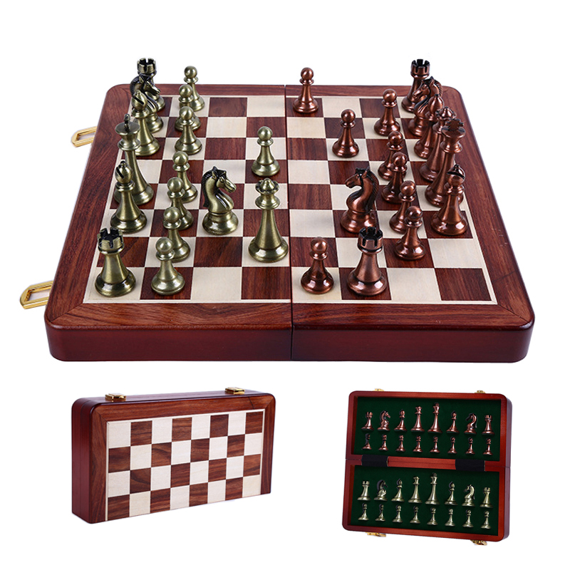 King Height 67mm Kirsite International Chess Set Wwooden Folding Chessboard Chess Game for Kids Adult for Gift Toys LA48