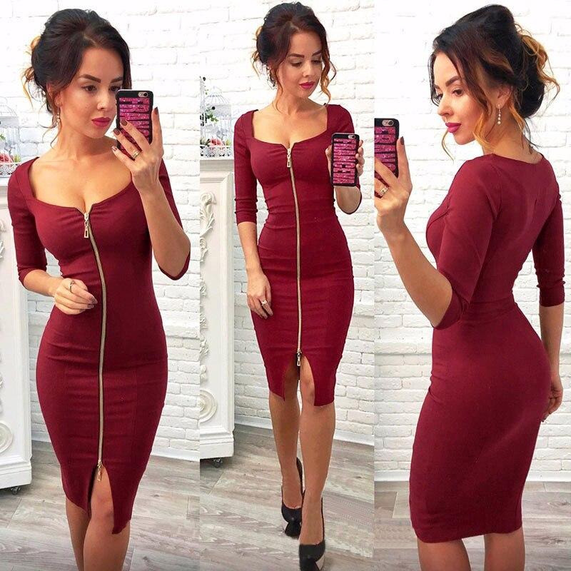 034bc62f2109 Women Sexy Club Low Cut Bodycon Dress Red Velvet Sheath 2018 Casual Autumn  Winter Zipper Fashion