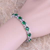 New Green Emerald White Cubic Zirconia 925 Sterling Silver Overlay Bracelets Hidden Safety Clasp Link Bracelet