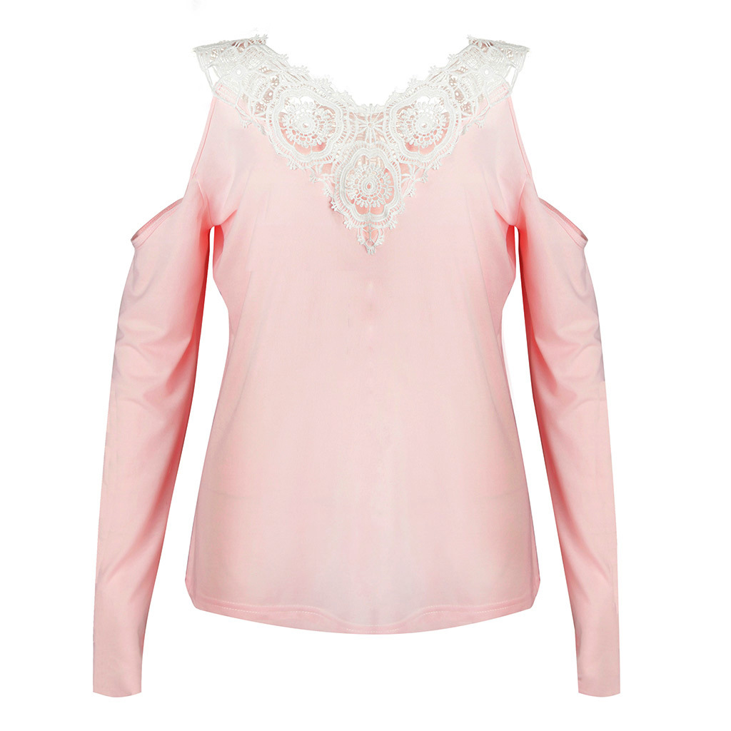 56a352ad2085e 2018 New Brand Women Sexy Solid Lace Cold Shoulder Long Sleeve Slim Top T  Shirt Woman V neck Tops Camiseta-in T-Shirts from Women s Clothing on ...