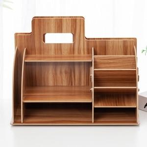 Image 5 - Holz Schreibtisch Veranstalter Büro Bureau Stift Halter Holz Sorter mit Schublade Organizer Stift Bleistift Veranstalter