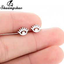 Shuangshuo Mini Stainless Steel Eyes Stud Earring For Women Girls Lovely Ear Jewelry Fashion Golden Silver Color Metal Ear Studs(China)