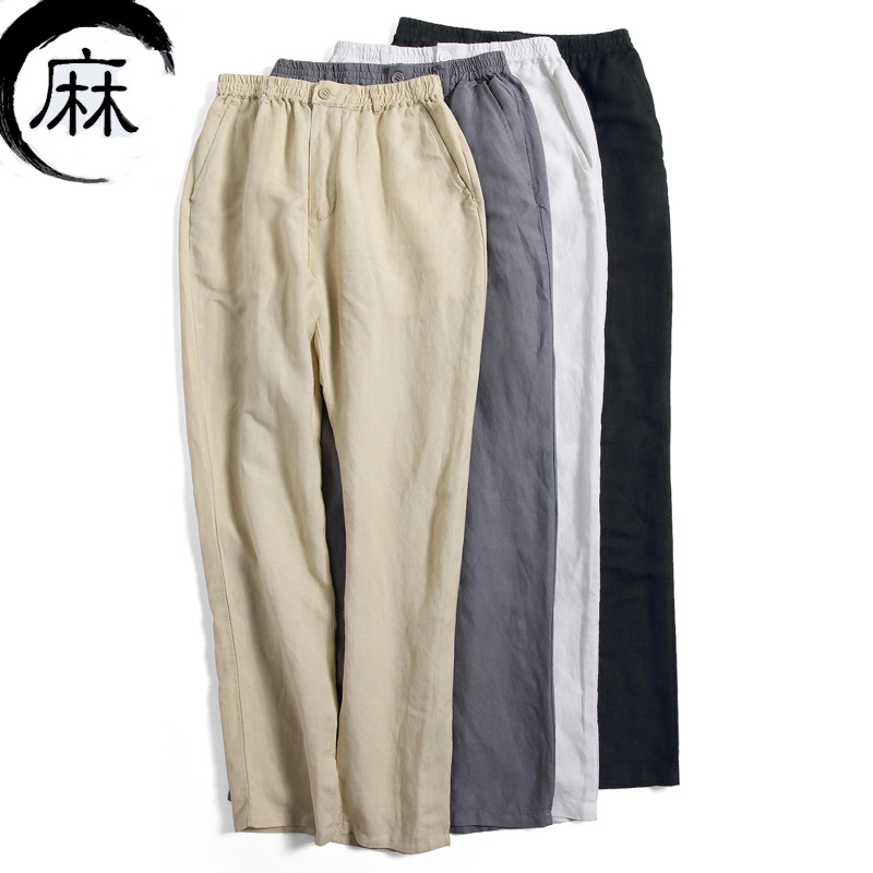 Casual Men Summer Cool Linen Pants Elastic Waist Solid Straight Pant Soft Sweatpant Vintage Trousers Classic Pantalon Hombre Elegant And Graceful
