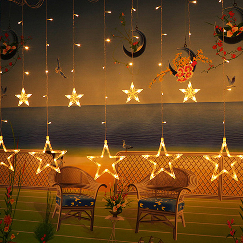 Xsky 2.5M Led Twinkle Christmas Lights Fairy Garland Star Curtain String Light 138LEDs Party Holiday Xmas Wedding Decor Lighting