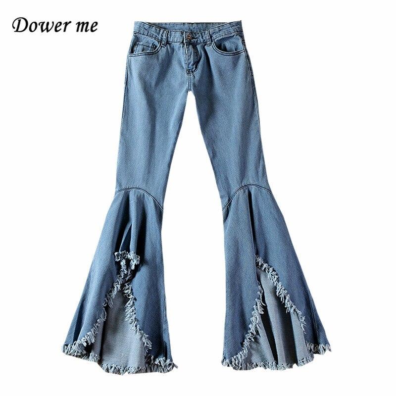 Fashion Fringed Tassel Women   Jeans   Big Flare Pants Elegant Loose Slim Denim Trousers Female Simple Vintage Soft Slacks YN2416