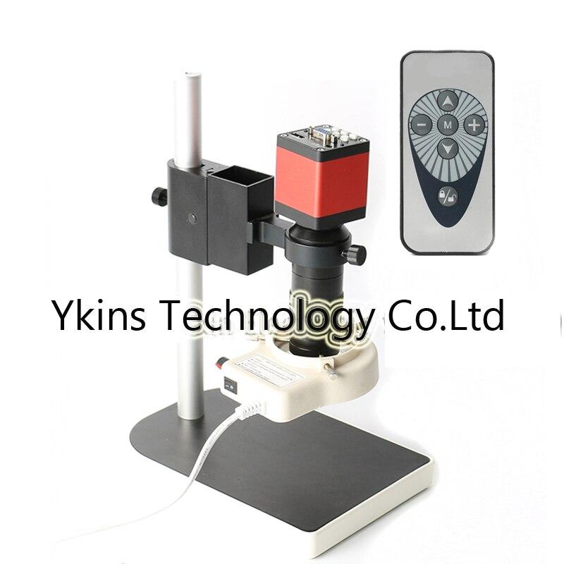 HD 13MP 720 p HDMI Câmera De Vídeo Microscópio Digital Industrial + 100X C Lente De Montagem + 56 CONDUZIU A Luz Do Anel + suporte para Reparação PCB
