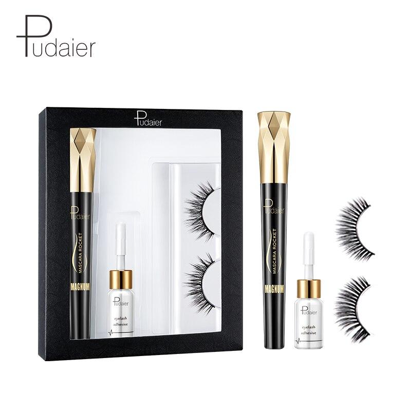 Pudaier Eyes Makeup Set  4D Mascara Slender Curl False Eyelashes Charm Simulation Natural Thick Eyelash Mascara Set