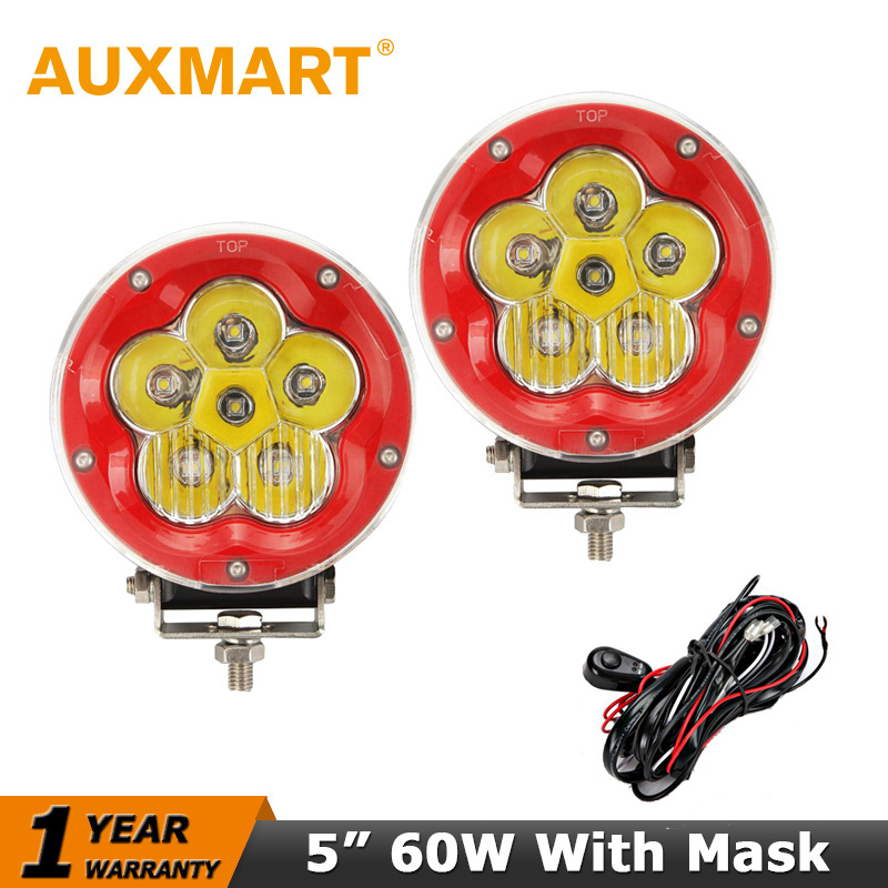 Auxmart Car Led Driving Light 60W 5 Flood Spot Combo Beam LED Work Ligt Passing 12V For ATV Truck 4WD 4X4 Offroad Headlight hot sale 2016 top quality brand shoes for men fashion casual shoes teenagers flat walking shoes high top canvas shoes zatapos