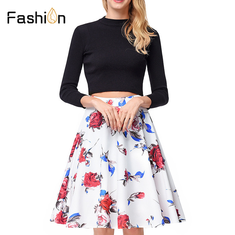 2018 Summer Women Skirt Vintage Blossom Floral Print High Waist Ball Gown Pleated Midi Skater Skirts Saias Harajuku Plus Size