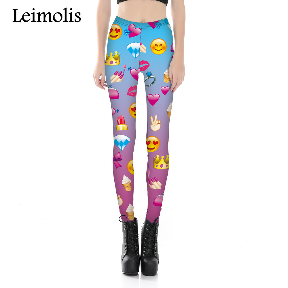 Leimolis 3D printed fitness push up workout   leggings   women funny emoji Expression plus size High Waist punk rock pants