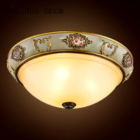 European luxury glass ceiling lamps bedroom dining room aisle American retro resin engraving ceiling lamp free shipping