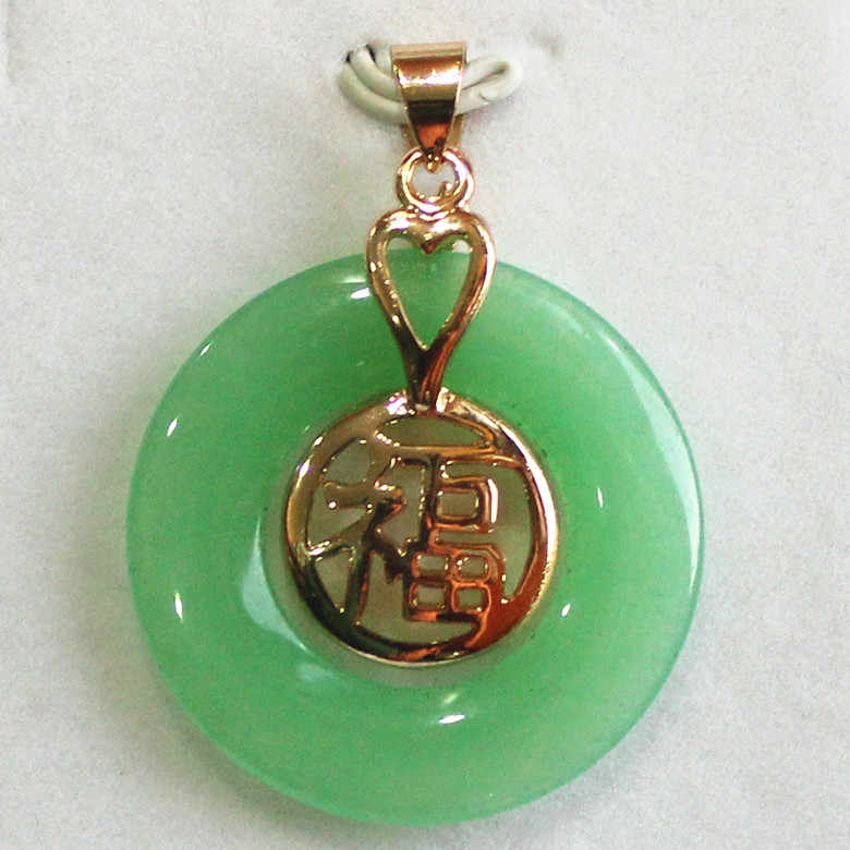 light Green jade 18K yellow gold plated Chinese good fortune pendant + free chain