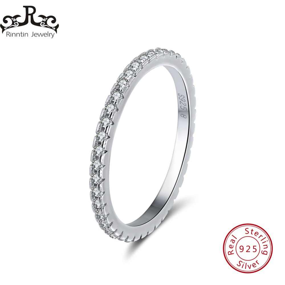 Rinntin 100% 925 Sterling Silver Women Classic Finger Rings Cubic Zircon Female Wedding Engagement Eternity Rings Jewelry TSR63