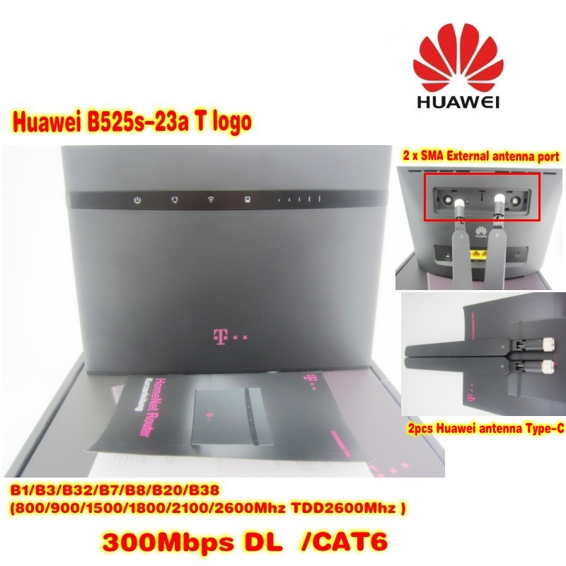 (+ 2pcs antenna black color) Huawei B525s-23a 4G LTE Cat6 Wireless Router T  logo