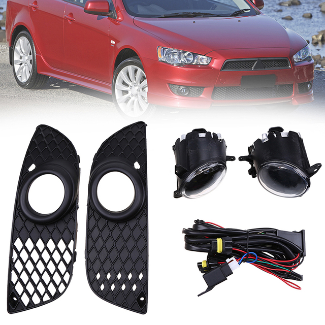 POSSBAY Car Front Bumper Grille Driving Fog Light Lamp with Wiring on mitsubishi montero parts diagram, mitsubishi split system, 94 galant alternator wiring, mitsubishi radio wire diagram,