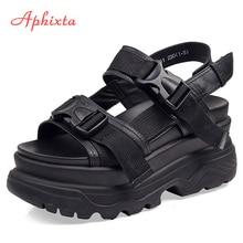 Aphixta/Босоножки на платформе 8 см; женская обувь на танкетке и высоком каблуке; женские кожаные парусиновые Летние босоножки с пряжкой; Zapatos Mujer; женские босоножки на танкетке