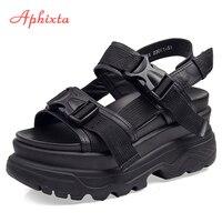 Aphixta/Босоножки на платформе 8 см; женская обувь на танкетке и высоком каблуке; женские летние парусиновые шлепанцы с пряжкой; zapatos Mujer; женские...
