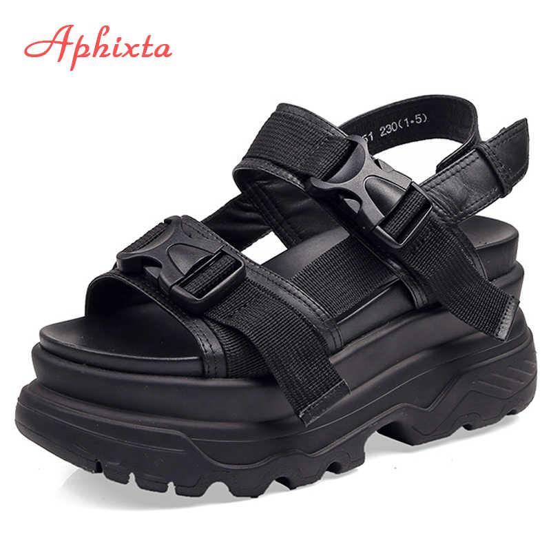 Aphixta 8cm Nền Tảng Giày Sandal Nữ Đế Xuồng Giày Cao Gót Giày Nữ Nam Da Canvas Mùa Hè Zapatos Mujer Dép Người Phụ Nữ Sandal
