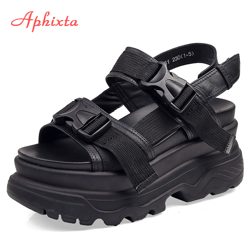 Aphixta 8cm Platform Sandals Women Wedge High Heels Shoes Women Buckle Leather Canvas Summer Zapatos Mujer