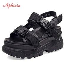 0661d7b070cd2 Aphixta 8 سنتيمتر صنادل أرضية المرأة إسفين عالية الكعب أحذية النساء مشبك جلد  قماش الصيف Zapatos