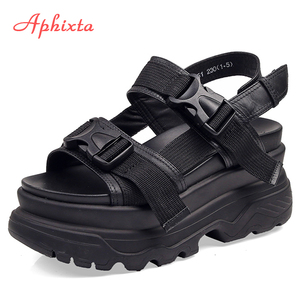 Aphixta 8cm Platform Sandals Women Wedge High Heels Shoes Women Buckle Leather Canvas Summer Zapatos Mujer Wedges Woman Sandal(China)